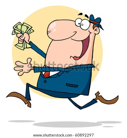 Businessman Running With Dollars In Hand - stock vector