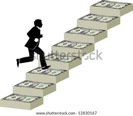 Businessman runs up a stairway made of money