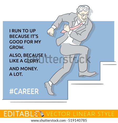businessman runs up stairs for