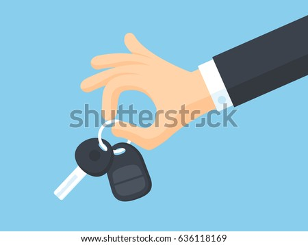 Businessman's arm holding car key vector illustration in flat style
