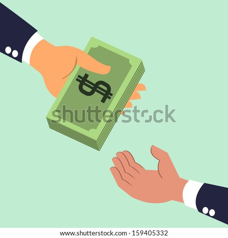 Businessman's hand giving money banknotes to each other. Business concept on giving, exchanging, sharing, receiving, or corporation about money. Vector illustration.
