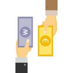 Businessman's Hand holding Banknote of Korea won exchange with Euro dollar. money swap, money exchange concept.