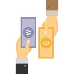 Businessman's Hand holding Banknote of Korea won exchange with Thai Baht. money swap, money exchange concept.