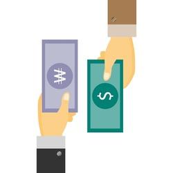 Businessman's Hand holding Banknote of Korea won exchange with US dollar. money swap, money exchange concept.