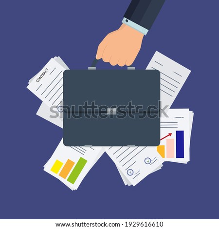 Businessman's hand holds a briefcase. Documents, charts, diagrams behind. Office work concept, classic suitcase with business documents, contracts and additional agreements. Vector Foto d'archivio ©