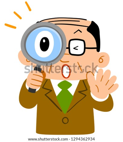 Businessman's upper half of astonishing peeping through the magnifying glass Middle-aged thinning hair