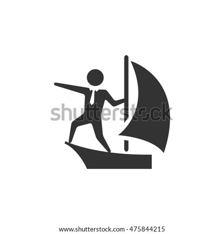 businessman sailing icon in