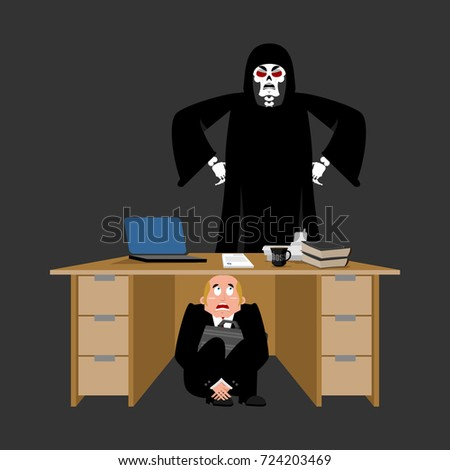 businessman scared under table