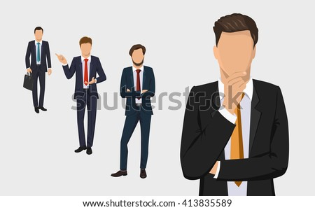 Businessman set. Handsome successful men dressed in a suit. Portrait of Full length. Thinking, solution, consulting, start up concept. Vector illustration isolated on white background