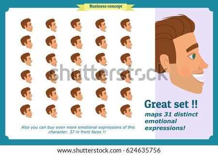 Businessman. Set young man's portraits in profiles. Isolated vector on white. Emotions