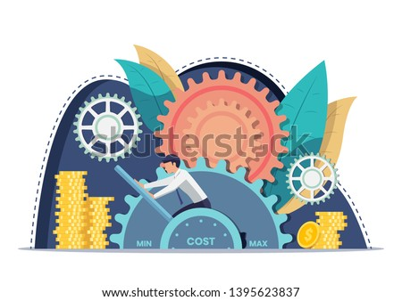 Businessman setting cost lever on minimum position. Cost reduction and financial management concept. Сток-фото ©