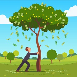 Businessman shaking tall cash tree with dollar banknotes & golden coins. Money flying down falling on ground. Successful man business project investment income concept. Flat style vector illustration.