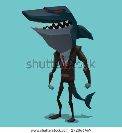 Businessman shark, vector
