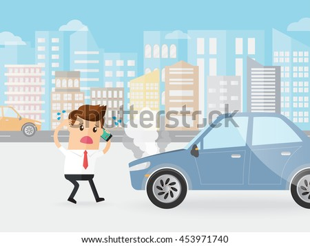 businessman shocked car broke