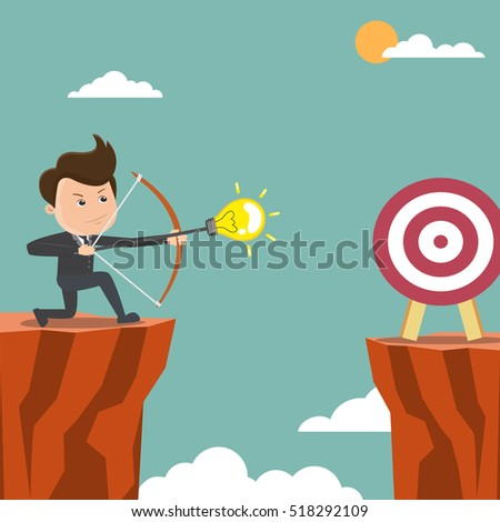 businessman shoot an arrow to