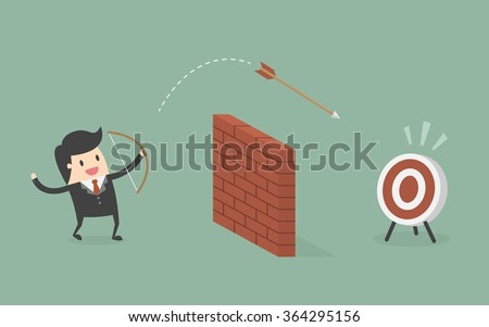 businessman shoot arrow over