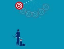 Businessman shooting arrows missing target. Concept business vector illustration.