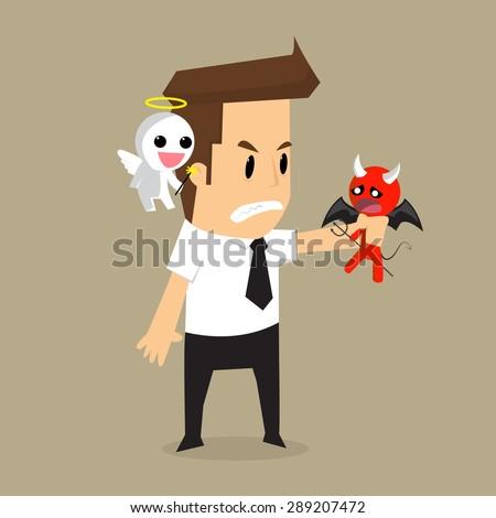 businessman shoulder devil and
