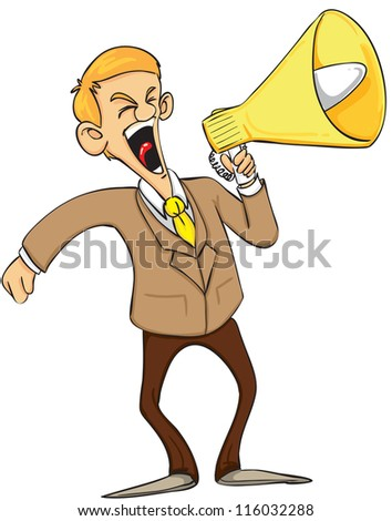 businessman shout on megaphone
