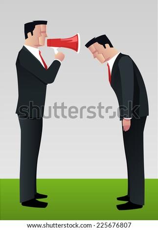 businessman shouting to