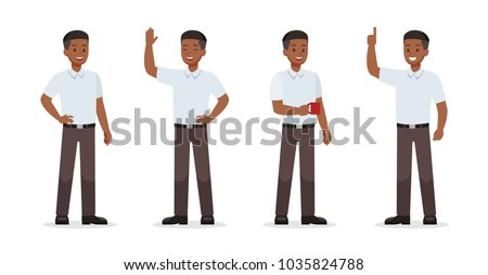 Businessman showing different gestures character vector design.