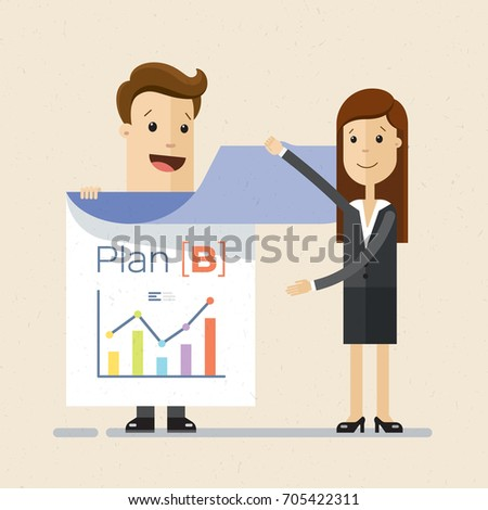 Businessman showing presentation on flipchart paper. Business woman looking at graphs  on the flipchart paper.  Vector, Illustration, Flat