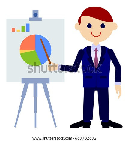 Businessman showing presentation. Vector clip art.