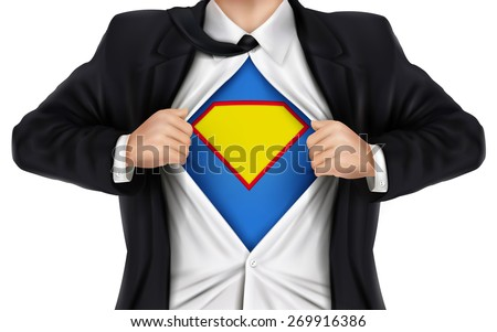 businessman showing superhero