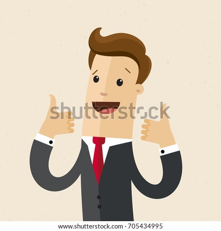 Businessman shows  both hands a sign Thumb Up. Vector, flat, illustration