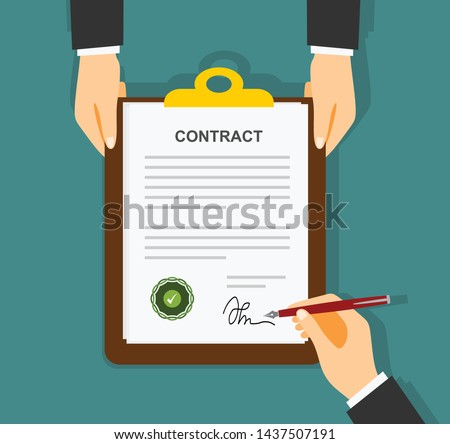 Businessman signing a document. Man hands with pen and contract. The process of business financial agreement. Document with a signature. Desk with money calculator. Vector