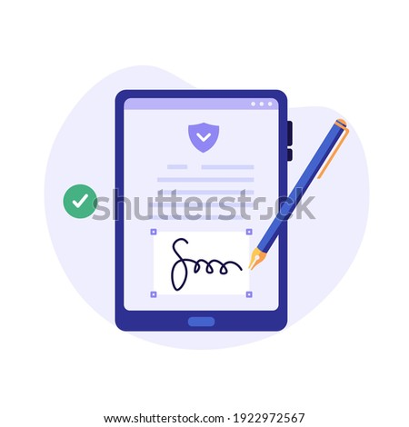 Businessman signing contract with digital pen on phone. Digital signature, business contract, electronic contract, e-signature concept. Vector illustration in flat design for web banner, mobile app