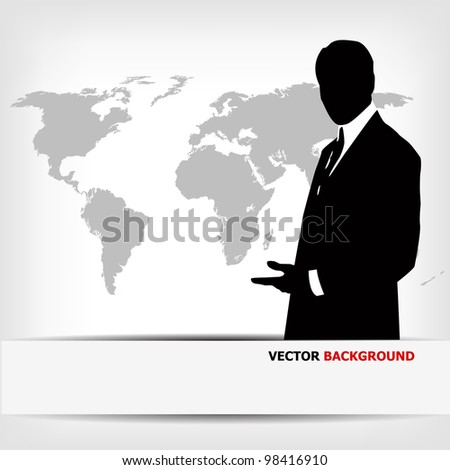 businessman silhouette with world map - vector illustration