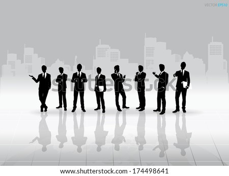 Businessman Silhouettes with building background. Vector illustration.