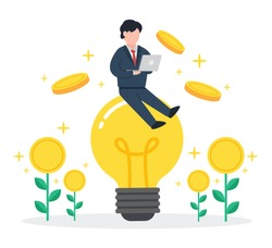 Businessman sits on glowing light bulbs with floating coins. Creative concept of making money from business idea. Simple trendy cute vector illustration. Modern flat style. Abstract graphic design.