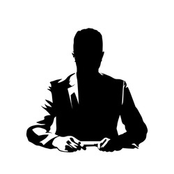 Businessman sitting at desk and talking, ink drawing. Conversation with leader or manager. Isolated vector silhouette
