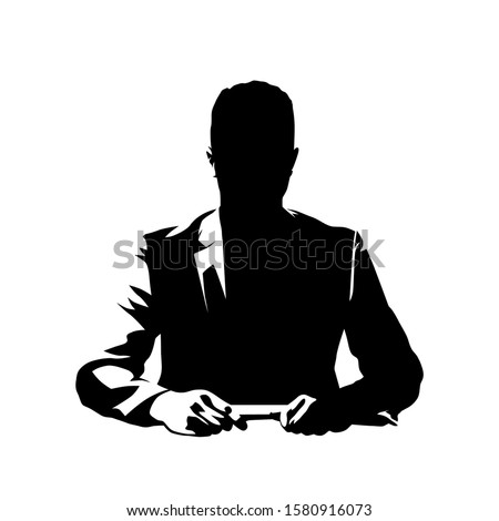 Businessman sitting at desk and talking, ink drawing. Conversation with leader or manager. Isolated vector silhouette Сток-фото ©