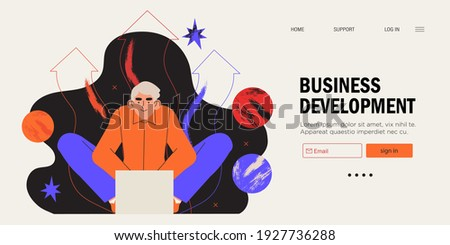 Businessman sitting in front of laptop working on project. Business developement, career success or growth and opportunity, startup concept banner, landing web page. Creative trendy character.