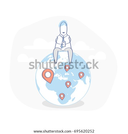Businessman sitting on the Earth and working with mobile phone, there are geo pins on the world map. Global business, Connection, Freelance, Remote work, Travel concept. Flat line doodle illustration.