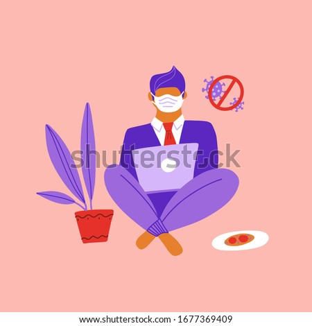 Businessman sitting on the floor and working with laptop in social networks. Work from home in COVID-19 virus outbreak, social distancing company allow employee work at home to prevent virus infection