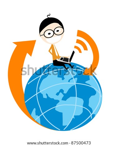 businessman sitting on the planets is the earth with a laptop which is an internet connection