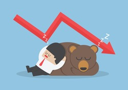 Businessman sleeping with bear with down trend graph, VECTOR, EPS10