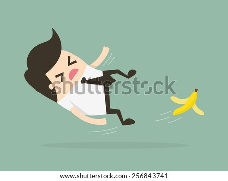 businessman slipping on a