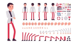 Businessman, smart office worker construction set. Manager, administrative person, corporate employee dress code and business objects. Cartoon flat style infographic illustration, different emotions