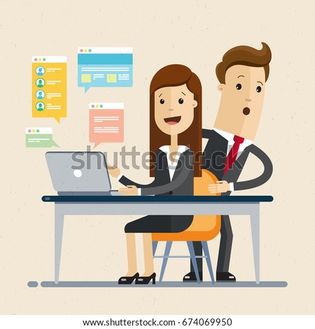 Businessman spying his woman colleague who is working at the computer at the desktop. Vector, illustration, flat