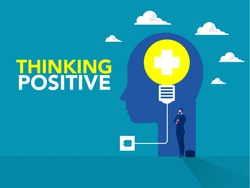 Businessman standing idea with lightbulb on human head Positive thinking business concept.new idea; creativity concept in vector.