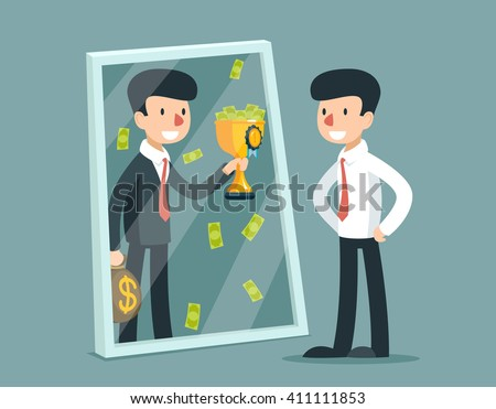 Businessman standing in front mirror and see himself being successful. Business concept. Success reflection. Vector illustration Stock photo ©