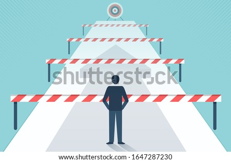 Businessman standing in front of many obstacles and barriers on the way to success vector design. Сток-фото ©