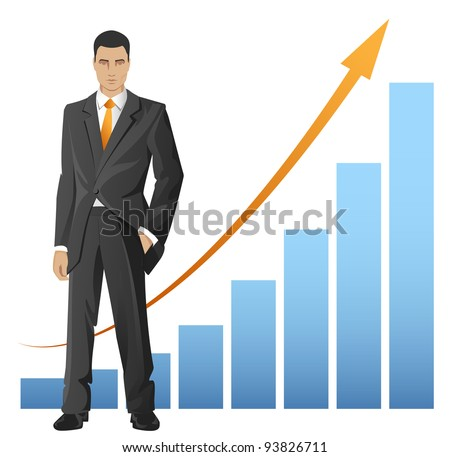 Businessman standing in front of the chart