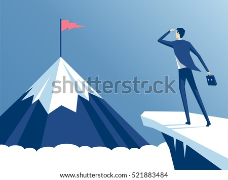 businessman standing on cliff's edge and looking at the mountain on which he will climb, an employee looking for a way to his goal, business concept challenge and the goal