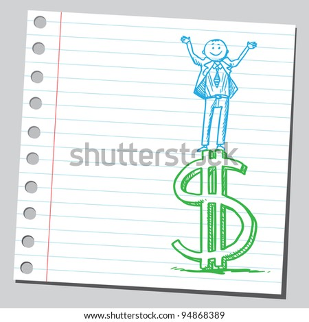 Businessman standing on dollar sign